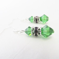 Swarovski Crystal Earrings - Sterling Silver Earrings - Swarovski Elements Green Crystal Earrings - Elegant Summer Sterling Silver Jewelry