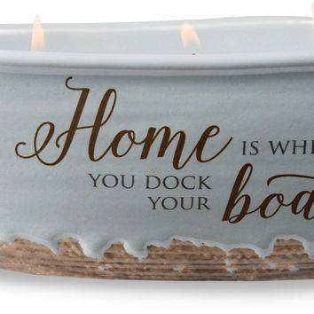 Home is where you dock your boat Triple Wick Soy Wax Candle Scent: Tranquility
