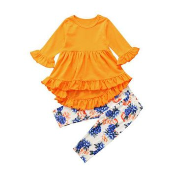 Adorable Kids Toddler Girls Clothing Tunic Tops Ruffle Shirt Floral Pants Leggings Outfits Set New Cotton Winter Clothes 2pcs