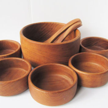 Vintage Teak Wood Salad Bowl Serving Set