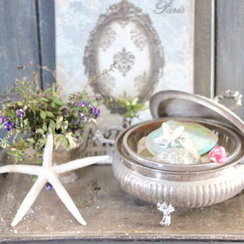 Vintage Footed Silver Plated Casserole Serving Dish