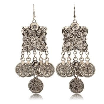 ES1053 Dangle Drop Coin Earrings Bijoux Fashion Jewelry Long Earring boucle d'oreille Ethnic Boho Brincos