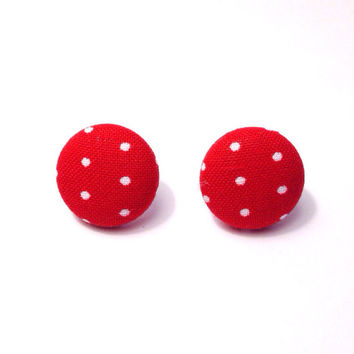 "Handmade ""Mary"" Red and White Polka Dot Fabric Earrings 3/4 inch"