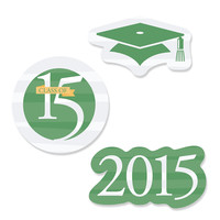 Graduation Shaped Party Paper Cut-Outs - Scholastic Stripes Green