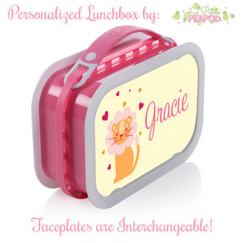 Lion Lunchbox - Personalized Lunchbox with Interchangeable Faceplates - Double-Sided Sweetheart Lion Lunchbox