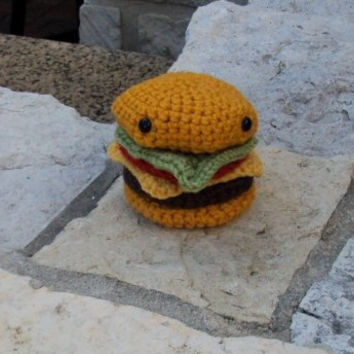 Crochet Amigurumi Cheeseburger - Stuffed Play Food