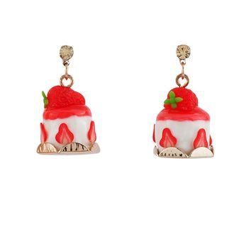 N2 by Les Néréides GOURMET COFFEE STRAWBERY CREAM CAKE EARRINGS