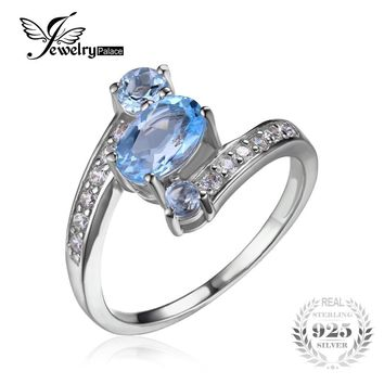 JewelryPalace 2.48ct Natural Sky Blue Topaz Gemstone Ring Pure Solid Genuine 925 Sterling Silver Vintage Gift For Women Jewelry