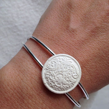 Handmade Essential oil diffuser silver plated cuff bracelet small filigree design 3/4 inch mixed white clay pottery piece
