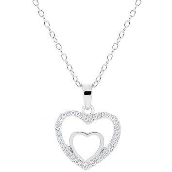 Double Heart Pendant Necklace - Amorette 18k White Gold Plated Double Open Heart Shaped Silver Necklaces with Pave CZ Crystals