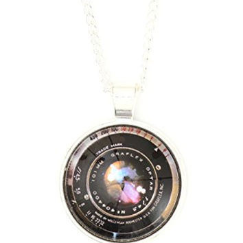 Camera Lens Necklace Silver Tone Photographer Pendant NP62 Fashion Jewelry