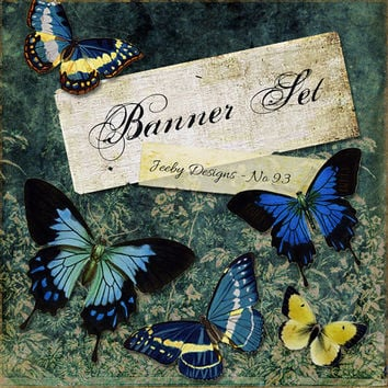 Etsy Banner Set - Butterflies - Etsy Cover Photo - Butterfly - Etsy Shop Banners - Vintage - Blue