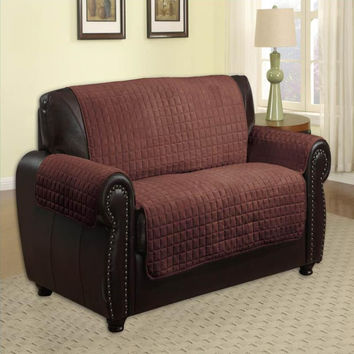 Microfiber Quilted Pet Furniture Protector Loveseat 88 x 76 - Brown