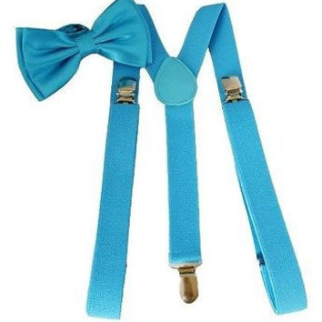 French Blue Light Blue Adjustable Suspenders & French Blue Bow Tie COMBO Set