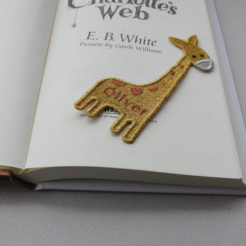 Kid's Giraffe Personalized Animal  Bookmark for Your Favorite Child or Pet Lover - Custom Embroidery , Handmade in USA