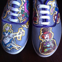 Personalized handpainted shoes, Alice in Wonderland Fanart shoes, custom snekers