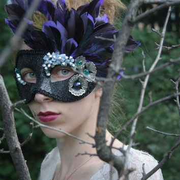 Black Purple Silver Masquerade Ball Mask Feather Beaded Crystal Gemstone flower Halloween Mardi Gras Venitian Carnevale Mask prom BELLADONNA