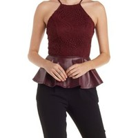 & Faux Leather Peplum Top by Charlotte Russe