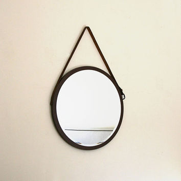 "Round Mirror. Mid-century Modern Mirror. Danish Mirror. Vintage Leather Belt Mirror. 24"" x 24"". Gift Idea."