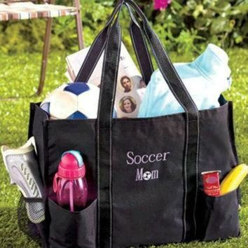 ONETOW Sports Mom Utility Tote Bag Organizing Soccer Games for Child with Merchandise Elastic