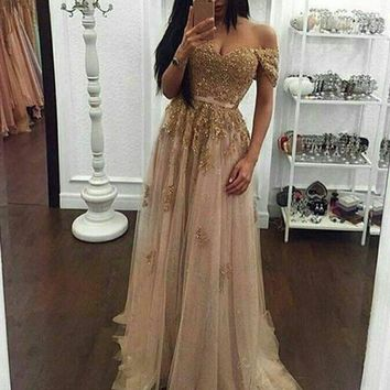 Modern Pearl Pink Prom Dress - Off Shoulder Short Sleeves Beaded Appliques with Sash
