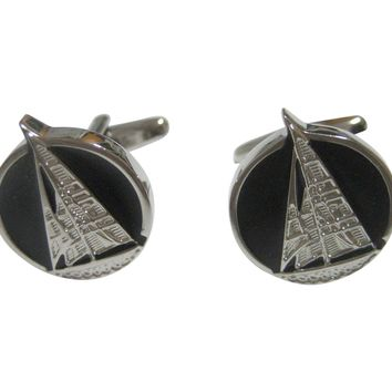 Black and Silver Toned Nautical Sail Boat Cufflinks V2