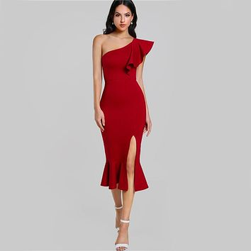 Burgundy One Shoulder Fishtail Midi Dress