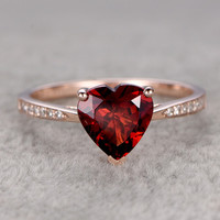 8mm Heart Shaped Garnet Engagement Ring Diamond Wedding Ring 14k Rose Gold Fine Fashion Design