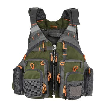 Fishing Life Vest Outdoor Water Sport Breathable Safety Life Jacket Waistcoat Survival Utility Vest Floating Device