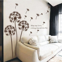 Brown dandelion -wall decals wall sticker wall decal