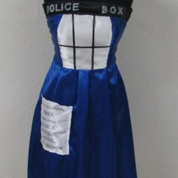 Doctor Who Inspired TARDIS Cosplay Police Box Blue Satin Mini Costume Dress New and Handmade Ladies Size 4