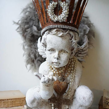 Ornate cherub statue French Santos acanthus leaf crown painted white angel distressed embellished shabby cottage decor anita spero design