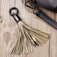 USB Cable Metal Ring Key Chain Leather Tassel Charger Cable for iPhone 5S 6 6S 7 7Plus