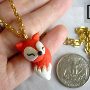 GUO GUO'S- Handmade Polymer Clay Fox Necklace, made to order