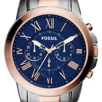 Men's Fossil 'Grant' Chronograph Bracelet Watch, 44mm