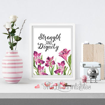 Strength and Dignity Bible Verse Printable, Christian Quote, Scripture Art Print, Floral Printable, Home Wall Decor, Red Lily Art Print