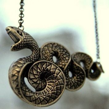 Snake Necklace  Brass by ragtrader on Etsy