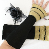 Long black gloves, Black Fingerless gloves, Costumes Lolita Steampunk, Steampunk Wedding, Gold glitter, Evening gloves, Black Armwarmers