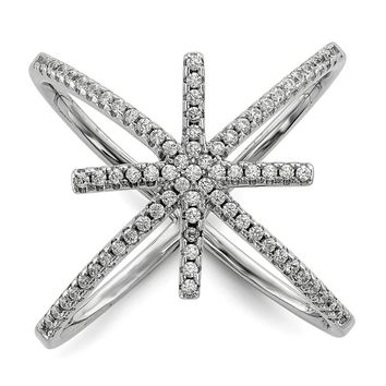 Sterling Silver Rhodium-plated CZ Star Criss Cross Ring