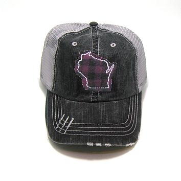 Wisconsin Trucker Hat - Gray Distressed - Plum Buffalo Check