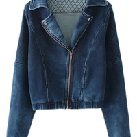 Blue Lapel Zip Up Long Sleeve Denim Jacket