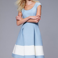 Stripe Wool & Silk Blend Fit & Flare Dress