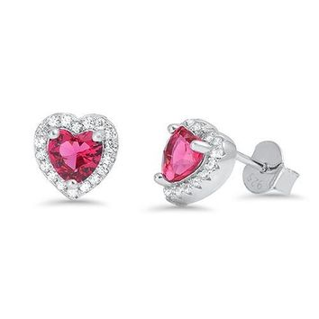 Halo Stud Earring Heart Shape Cut Red Ruby Round Clear Crystal CZ Soli