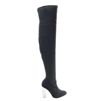 Blossom23 Black By Wild Diva, OTK Over Knee Thigh High Pull On Lucite Clear See Through Block Heel