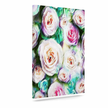 "Dawid Roc ""Bright Rose Floral Abstract"" Green Floral Canvas Art"
