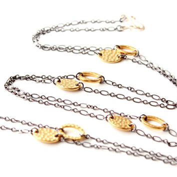 Two tones long convertible necklace-bracelet. Mixed metal extra long necklace. Black chain and gold links necklace-bracelet. Jewelry trends