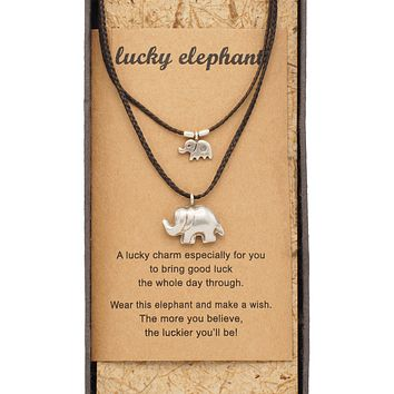 Sunee Elephant Necklace with 2 Elephant Pendants, Mother Daughter Jewelry