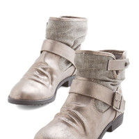 ModCloth Statement Can You Kick It? Bootie in Pewter
