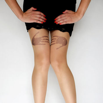 Hands Tattoo Tights Pantyhose,Cool Print tattoo Leggings,Tattoo Tights,Handmade Pantyhose
