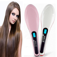 Brush Hair Straightener Comb Irons Come With LCD Display Electric Straight Hair Comb Straightening